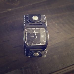 Men's black cuff Fossil watch